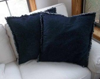 Denim Pillows Custom Pillow Shams Raggedy Chambray Pillow Covers Euro Shams Farmhouse Decorative Pillows Custom Sizes Available