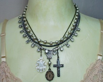 Multi Strand Upcycled Assemblage Necklace with Antique French Religious Pendants, Rhinestones and Pearls