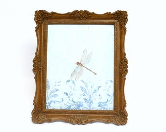 """Ornate Brown Faux Bois Picture Frame for 9.5"""" by 7.5"""" Photo with Easel Back for Tabletop Display"""