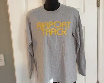 Vintage 1980s Airport Track longsleeve tee gray and yellow 50/50