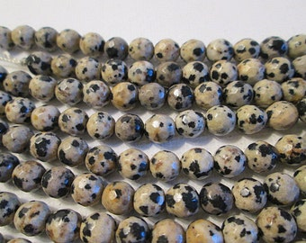 Jasper Beads, 6mm Faceted Round, Dalmation Jasper, Natural Spotted Gemstone - gm555