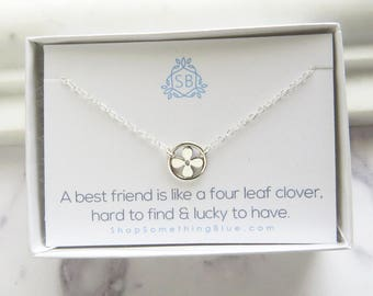 Best Friend Gift • Clover Necklace • Four Leaf Clover Charm • Lucky Charm Necklace • Clover Charm • Shamrock Necklace • Friendship Jewelry