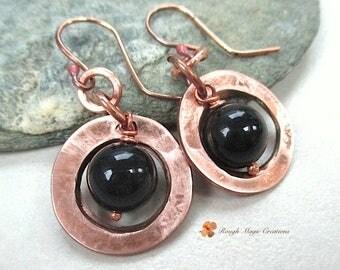 Black Onyx Copper Earrings, Boho Handmade Jewelry, Gemstone Dangles, Semi Precious Stones, Rustic Metalwork, Primitive Tribal Earrings  E304