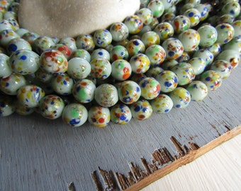Round lampwork Glass beads, round green opaque glossy base , multicolored speckled design, supplies from indonesia 8-9mm ( 16 pcs ) 6CB12-1