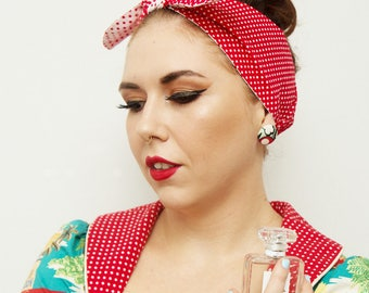 ROCKABILLY Head Scarf Bandana! Red/White Polka dots, 50s inspired, SUPER Retro/Vintage styled.
