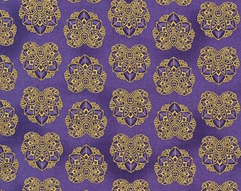 Valley of the Kings Flowers Jewel Gold Kaufman Fabric 1 yard