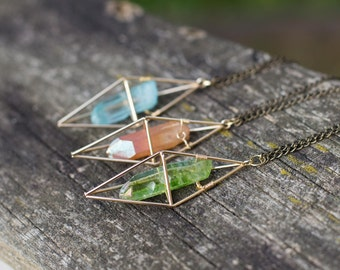 Tangerine or Green Apple or Aura Quartz Necklace / Gold Geometric Caged Crystal Necklace / Boho Healing Quartz Point Necklace