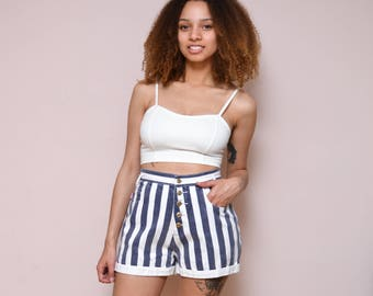 Vintage 90s Vertical Striped High Waist Cuff Shorts // High Waisted Denim Stripe Shorts -