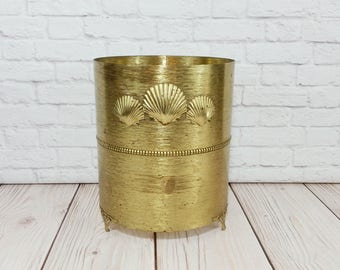 Vintage Gold Metal Seashell Trash Can Cover