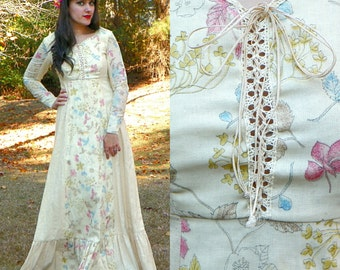 1970s Vintage Cream Boho Maxi Dress Boho Wedding Dress Corset Lace Up Long Sleeves Medieval Princess Dress Burlap Linen Hemp Maxi Size Small