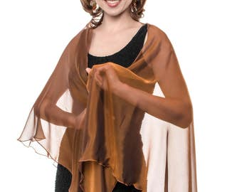 Dark Orange Silk Chiffon Drape Triangular Shawl Wrap for Evening Dress