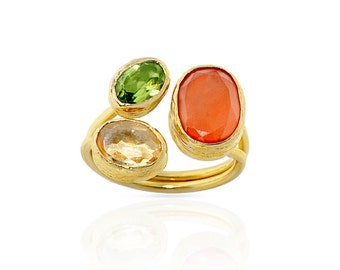 Citrine, carnelian and peridot Trio Ring made with silver coated in gold Big yellow green orange three gemstones statement ring