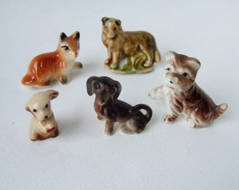 Five Little China Dogs - Sweet Vintage Miniatures - Kitsch Ceramic Dog and Puppy Ornaments