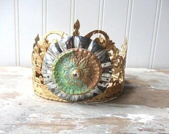 Santos crown antique vintage style decor crown  ornate handmade tiara doll size decor crown mixed media tin faux verdigris rhinestone