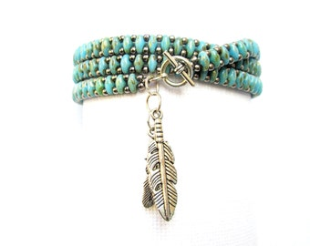 turquoise bead wrap bracelet superduo stackable bracelet multilayered charm bracelet boho bracelet turquoise bracelet wrap bracelet
