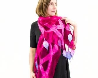Felted scarf, Merino scarf, Nuno Felted Shawl, Felt silk scarf, Silk wrap, Womens silk scarf, Hand painted scarf, ladies scarf, silk scarf