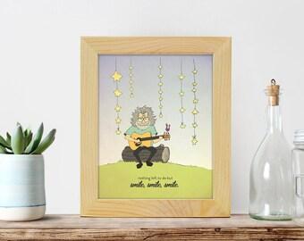 Jerry Garcia Nursery Print - Cool Kids Room Art - Grateful Dead Quote Art - Smile, smile, smile