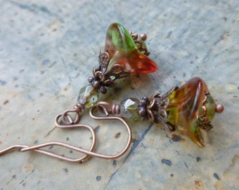 Antique Style Flower Earrings in Multicolor Czech Glass and Antique Copper