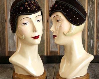 SALE- 1940s Jeweled Skull Cap Hat
