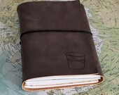 bucket list journal with maps as a travel journal , retirement gift- gray faux leather by tremundo