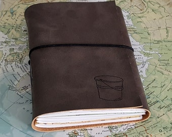 bucket list journal with maps as a travel journal- gray faux leather- moms, dads, grads - tremundo