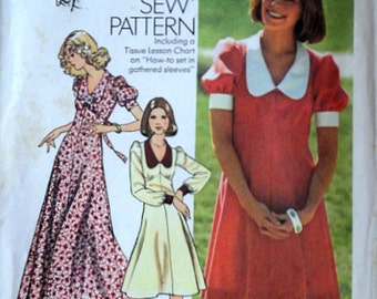 Vintage 70's Simplicity 6605 Sewing Pattern, Misses' Dress In Two Lengths, Size 8, 31.5 Bust, Uncut FF, How to Sew Pattern, 1970's Retro