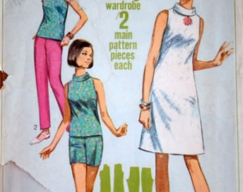 Vintage 60's Simplicity 7104 Jiffy Sewing Pattern, Jr. Petite One-Piece Dress or Overblouce & Pants In Two Lengths, Size 13, Uncut, Mad Men