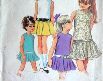 Vintage 60's Simplicity 8223 Sewing Pattern, Girls' Drop Waist Dress With Two Skirts, Size 4, Retro Mod 1960's Kids Summer Fashion