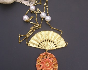 Fan Necklace, Asian Style Necklace,  Vintage Assemblage Jewelry, Japanese Plastic Coral Flower Pendant, Faux pearl Necklace