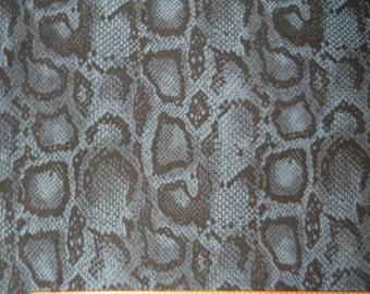 Snakeskin Blue Denim Stretch Fabric BTY