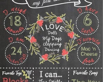 Birthday Chalkboard Design Elements Instant Download for Electronic Cutters party silhouette cricut vinyl digital blackboard FLORAL