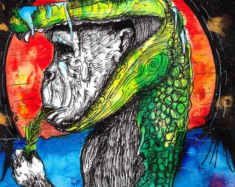 "Monkey Art - Alligator Artwork - INKtober 2016  - Wildlife Illustration -  ""Process of Elimination"" by Far Out Arts"
