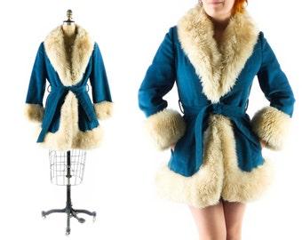 FREE U.S. Ship - Vintage Almost Famous Coat // 1960s Coat // 60s Coat // Princess Coat // Faux Suede Coat // Faux Fur Coat sz M