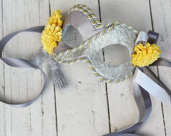 30% OFF!! - Silver Spring - Handmade Masquerade Mask in Silver Grey and Sunshine Yellow