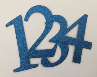 "4"" Blue Glitter Chipboard Numbers, Wedding Table Numbers, Elegant Font, Birthday Decor: SAPPHIRE Shown"