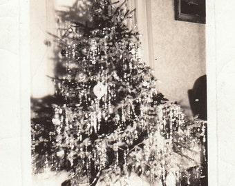 Original Vintage Photograph Snapshot Decorated Christmas Xmas Tree 1936