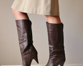 1980s Markon Chocolate Leather Boots >>> Size 7-1/2 (7.5)