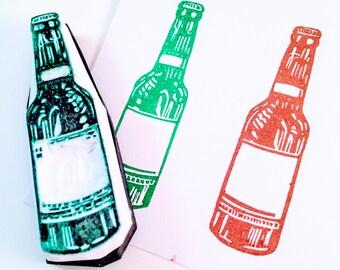 Beer Bottle Rubber Stamp - Hand Carved