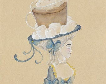 "Unique Chocolate Art Gift Hot Chocolate Art Hot Cocoa Art Sweet Winter Art Unique Holiday Gift Marie Antoinette 5"" x 7"" Watercolor Print"