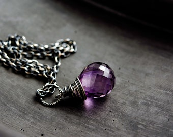Amethyst Necklace, Amethyst Pendant, February Birthstone, Birthstone Necklace, Birthstone Jewelry, Purple, Sterling Silver, PoleStar