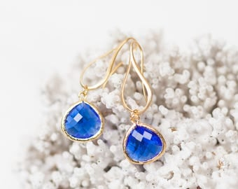 Teardrop earrings, Cobalt blue, gold, teardrop, affordable, crystal, dangle, unique, beach, sea glass, jewelry, handmade in Santa Cruz