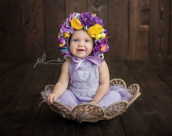 Flower Bonnet, Baby hat, Garden Bonnet, Sitter Bonnet, Floral Bonnet, Baby Photo Prop, Newborn Photo Prop, Newborn Baby Girl Hat