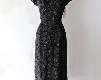 Vintage 1960's Bruce Arnold Heavily Beaded Black Cocktail Dress ~ Vintage 60s Beaded Wiggle Dress Size 10