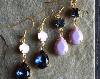 Jewel earrings, glass jewel earrings, blue earrings, purple earrings, estate style earrings, holiday gift ideas, gift ideas for mom