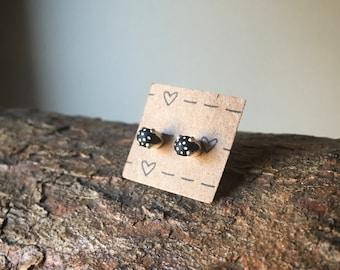 Black Stud Earrings/ Round Studs/ Circle Studs/ Minimal Studs/ Simple Studs/ Sterling Studs Earrings