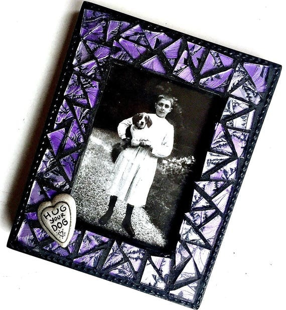 Purple Mosaic Picture Frame, Hug Your Dog Frame, Purple Glass Mosaic Frame, Purple Black Picture Frame, Small Photo Frame, Purple Frame