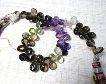 AAA Amethyst Lemon Quartz Rose Quartz Smokey Quartz Briolettes Beads, 8 Inches, 7mm 8mm Briolette Beads