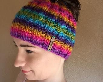 Knit Messy Bun Beanie, Messy Bun Hat, Ponytail Hat
