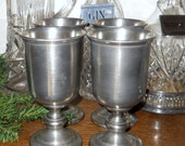 "Pewter Goblets - Set of 4 Vintage Wine Glasses - Signed ""CCC"" Colonial Casting Company- Weighted Silver Dining Barware - 1980's  Stemware"