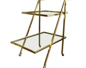 On Hold Mid Century Modern Two Tier Brass Bar Serving Cart